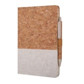 A5 Size Cork And Fabric Hard Cover Notebook W/ Pen